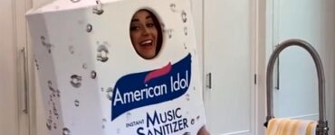Katy Perry dressed as a bottle of hand sanitizer