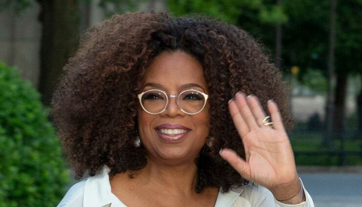 Oprah Winfrey arrives at the Statue of Liberty Museum Opening Celebration