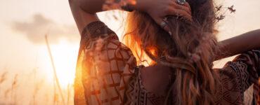 Woman looking toward sunset