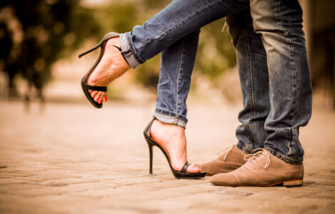 Shot of a romantic couple's feet