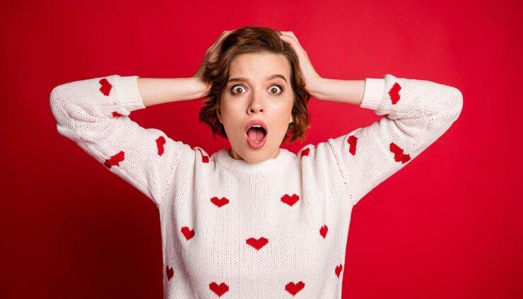 Woman panicking on Valentine's Day
