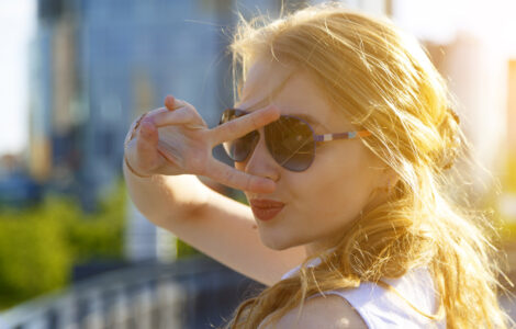 Blond girl in sunglasses