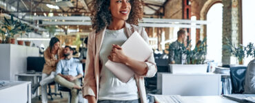 Black woman in hipster office