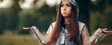 Woman in rain coat